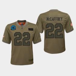 Jeunes Carolina Panthers 22 Christian McCaffrey 2019 Salut au service du jeu Jersey - Camo