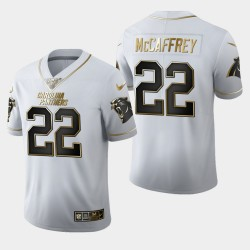 Carolina Panthers Hommes 22 Christian McCaffrey 100ème Saison Golden Edition Maillot - Blanc