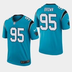 Carolina Panthers 95 Derrick Brown Jersey Draft NFL hommes - Bleu