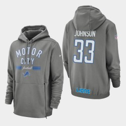 Detroit Lions 33 hommes Kerryon Johnson Sideline Lockup Sweat à capuche - Gris