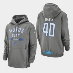 Detroit Lions 40 hommes Jarrad Davis Sideline Lockup Sweat à capuche - Gris