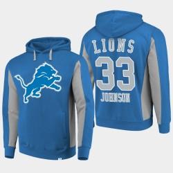 Fanatics Detroit Lions de marque Hommes 33 Kerryon Johnson équipe Iconic Sweat à capuche - Bleu
