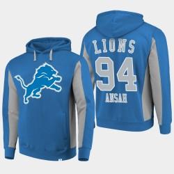 Fanatics Detroit Lions Branded Hommes 94 Ezekiel Ansah équipe Iconic Sweat à capuche - Bleu
