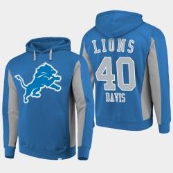 Fanatics Detroit Lions Branded Hommes 40 Jarrad Davis équipe Iconic Sweat à capuche - Bleu