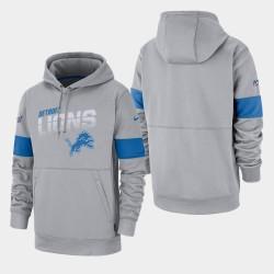 Detroit Lions 100e saison Sideline équipe masculine Logo Sweat à capuche - Gris