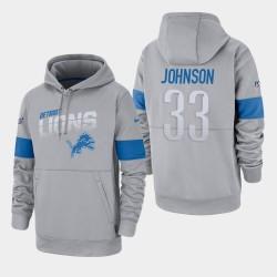 Lions 100e saison Kerryon Johnson Sideline équipe Logo Sweat à capuche - Gris