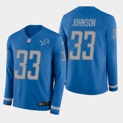 Detroit Lions 33 hommes Kerryon Johnson Therma Jersey à manches longues - bleu