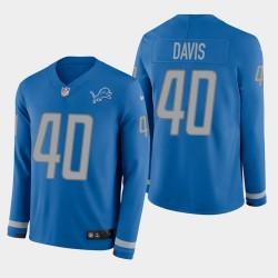 Detroit Lions 40 hommes Jarrad Davis Therma Jersey à manches longues - bleu
