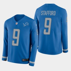 Detroit Lions Men 9 Matthew Stafford Therma manches longues - bleu