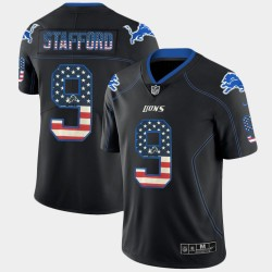 Detroit hommes Lions Matthew Stafford 9 Black Flag USA Mode couleur Rush Limited Jersey