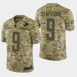 Hommes Detroit Lions 9 Matthew Stafford 2018 Salut à Service Limited Jersey - Camo