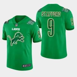 Hommes Detroit Lions 9 Matthew Stafford vapeur de la Saint-Patrick Intouchable Limited Jersey - Kelly vert