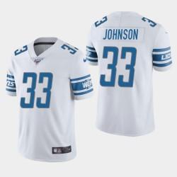 Hommes Detroit Lions 33 Kerryon Johnson 100ème saison de vapeur Limited Jersey - Blanc
