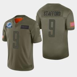 Detroit Lions Men 9 Matthew Stafford 2019 Salut au service Camo Jersey limitée