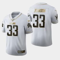 Hommes Detroit Lions 33 Kerryon Johnson 100ème Saison Golden Edition Jersey - Blanc