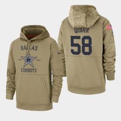 Robert Quinn Dallas Cowboys 2019 Salut au service des hommes Sideline Therma Sweat à capuche - Tan