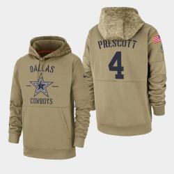 Dak Prescott Dallas Cowboys 2019 Salut des hommes au service Sideline Therma Sweat à capuche - Tan
