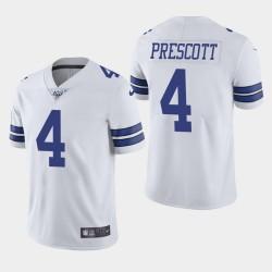 Dallas Cowboys Men 4 Dak Prescott 100ème saison de vapeur Limited Jersey - Blanc