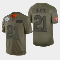 Dallas Cowboys 21 hommes Ezekiel Elliott 2019 Salut au service Camo Jersey limitée