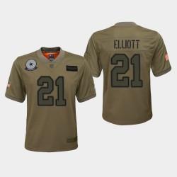 Jeunes Dallas Cowboys 21 Ezekiel Elliott 2019 Salut au service du jeu Jersey - Camo