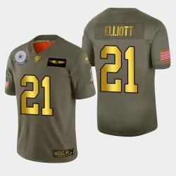 Cowboys de Dallas 21 hommes Ezekiel Elliott 2019 Salut au service Metallic NFL Jersey 100