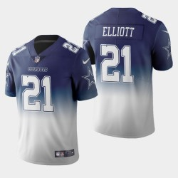Dallas Cowboys 21 hommes Ezekiel Elliott couleur crash dégradé Marine Jersey