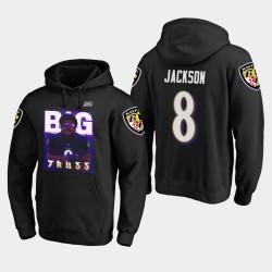 Hommes Baltimore Ravens 8 Lamar Jackson Joueur Comic Big Truss Sweat à capuche - Noir