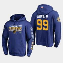 Los Angeles Rams Hommes 99 Aaron Donald 2018 Pull à capuche Champions NFC - Royale