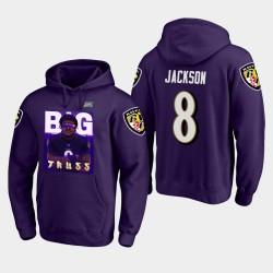 Ravens Lamar Jackson Joueur Saison 100ème Comic Hoodie - Violet