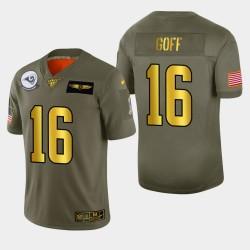Hommes Los Angeles Rams 16 Jared Goff 2019 Salut au service métallique NFL 100 Jersey