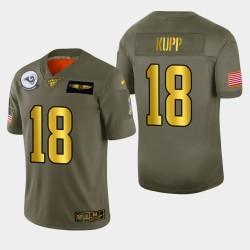 Rams Hommes Los Angeles 18 Cooper Kupp 2019 Salut au service métallique NFL 100 Jersey