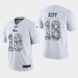 Rams de Los Angeles 18 hommes Cooper Kupp Salut au service pratique maillot blanc