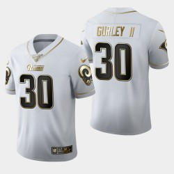 Rams Hommes Los Angeles 30 Todd Gurley II 100ème Saison Golden Edition Jersey - Blanc