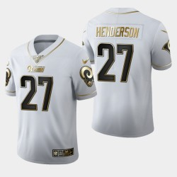 Rams Hommes Los Angeles 27 Darrell Henderson 100ème Saison Golden Edition Jersey - Blanc