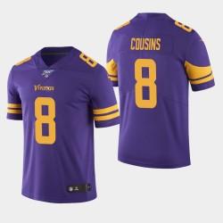 Vikings du Minnesota 8 hommes Kirk Cousins les 100 Couleur Saison Rush Jersey - Violet