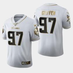 Vikings du Minnesota Hommes 97 Everson Griffen 100 Saison Golden Edition Jersey - Blanc