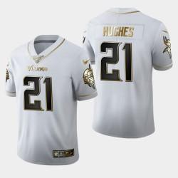 Vikings du Minnesota Hommes 21 Mike Hughes Saison 100 Golden Edition Jersey - Blanc