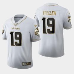 Vikings du Minnesota 19 hommes Adam Thielen 100ème Saison Golden Edition Jersey - Blanc