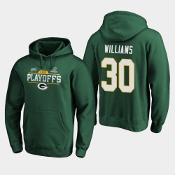 Packers de Green Bay Men Jamaal Williams 2019 NFL Playoffs Bound Chip Tir Sweat à capuche - vert