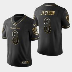 Baltimore Ravens Hommes 8 Lamar Jackson Golden Edition Vapor Intouchable Limited Maillot - Noir