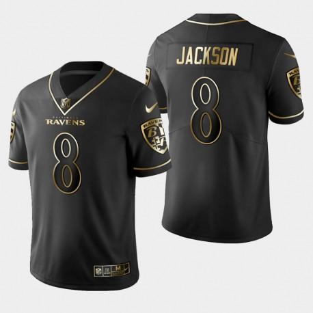 Baltimore Ravens Hommes 8 Lamar Jackson Golden Edition Vapor Intouchable Limited Jersey - Noir