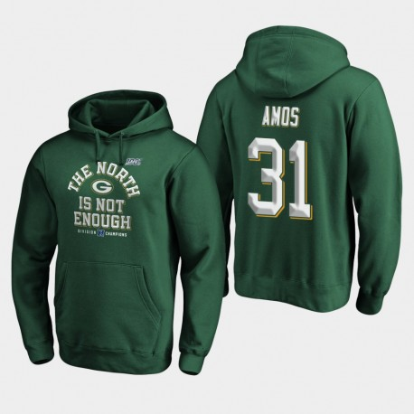Green Bay Packers Hommes Adrian Amos 2019 NFC Division Nord Champions couverture Deux Sweat à capuche - vert
