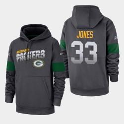 Green Bay Packers Hommes 33 Aaron Jones 100e Saison Sideline équipe Logo Sweat à capuche - Anthracite