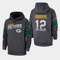 Green Bay Packers Hommes 12 Aaron Rodgers 100e saison Sideline équipe Logo Sweat à capuche - Anthracite