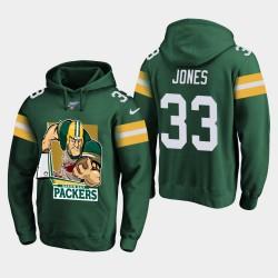 Green Bay Packers hommes 33 Aaron Jones Cartoon Mascot Sweat à capuche - vert