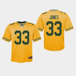 Youth Green Bay Packers 33 Aaron Jones 2019 Inversé Jeu Jersey - Or