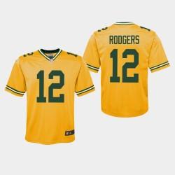 Jeunes Packers de Green Bay Aaron Rodgers 12 2019 Inversé Jeu Jersey - Or
