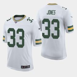 Green Bay Packers Hommes 33 Aaron Jones 100ème saison de vapeur Limited Jersey - Blanc