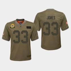 Jeunes Packers de Green Bay 33 Aaron Jones 2019 Salut au service du jeu Jersey - Camo