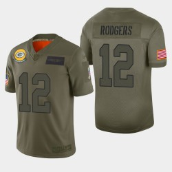 Green Bay Packers Hommes 12 Aaron Rodgers 2019 Salut au service Camo Jersey limitée
